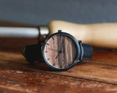 Custom Engraved Watch, Sandalwood with Black Casing and Black Leather Strap - CSTM-HELM-SB
