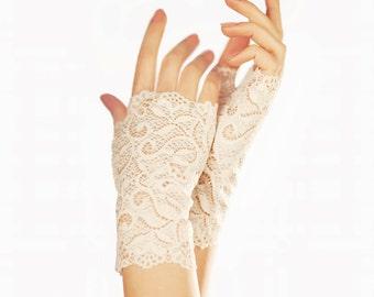 Ivory Wedding Gloves Ivory Bridal Gloves Fingerless Gloves Lace Gloves Lace Wedding Gloves Elegant Gloves Wedding Fingerless Gloves Mittens