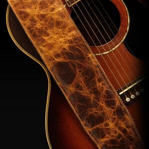 Distressed Leather Guitar Strap, Brown Guitar Strap: Durango Gold Guitar Strap