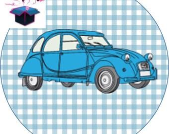 1 cabochon clear 25 mm 2cv car theme