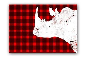 Modern Rhino art  -  Kids Art Prints, rhinoceros , nursery print, stripes, silhouette, rhino art, nursery decorating ideas, rhinoceros art
