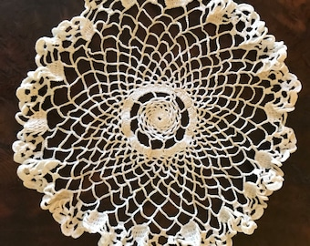 Vintage Hand-Crocheted Doily, 9 inches