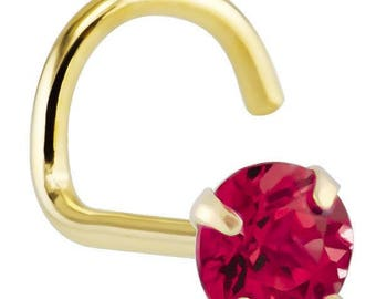 Ruby (July) - 14KT Yellow Gold Nose Twist