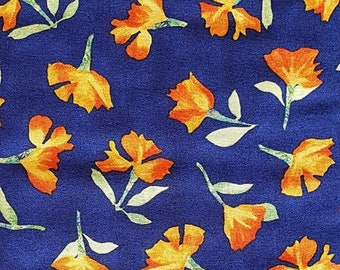 Cherish for Quilting Treasures Blue with Orange Floral