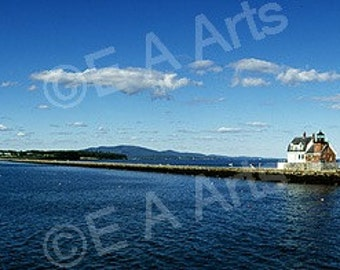 Rockland Breakwater Light  Maine Panoramic Photography  Image by Maine Photographer, Paul Vose-Maine US MADE in Cape Elizabeth, Maine