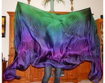 "Sahariah's Silk Belly Dance Veil Rectangle Original ""Killer Silk"" 3 Yard Rectangle Veil Purple Emerald Tribal Belly Dance Rectangle Veil"