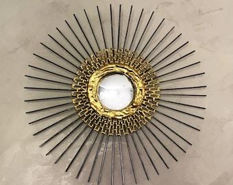 Hollywood Regency Starburst Mirror, Sunburst Mirror 16in #1002, handmade mirror, mid century mirror, atomic mirror, farmhouse mirror, gold