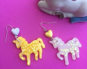 Sparkly glitter unicorn dangle earrings with cute kawaii hearts