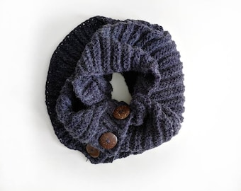 Navy Knit Buttoned Infinity Scarf