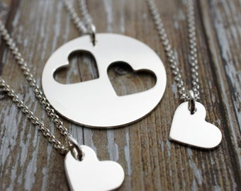 Mother's Day Gifts - Mother Daughter Necklace Set - Custom Cut Hearts in Sterling Silver by EWD - Two Daughter Design