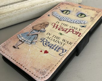 Alice in Wonderland iPhone Samsung Leather Wallet Flip Case Cover Cheshire cat