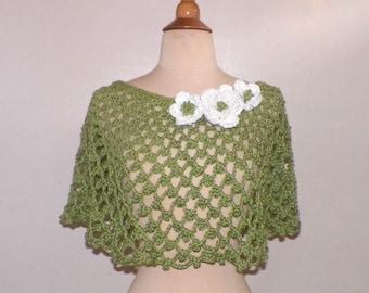 Green Bridal Poncho Summer Caplet Cape Shawl Hippie Festival Crochet Irish Rose Freeform Lace Boho Wrap