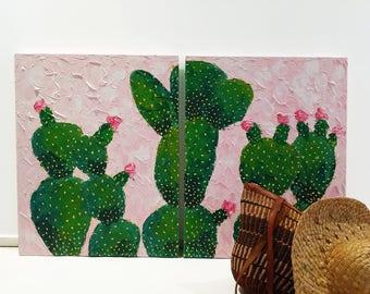 Cactus Impasto Painting by Hanifah Tohir