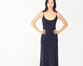 Blue Sparkle 90s Gown - Navy, Maxi Dress, Prom, Wedding, Bridal, Spaghetti Strap, Stretchy, Small, Collections