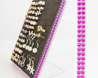 Earring & Ring Holder - Hot Pink Jeweled Ribbon - Earring Organizer