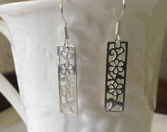 Solid .925 Sterling Silver, Cut Out Flowers in Rectangle Charms Used as Bar Earrings