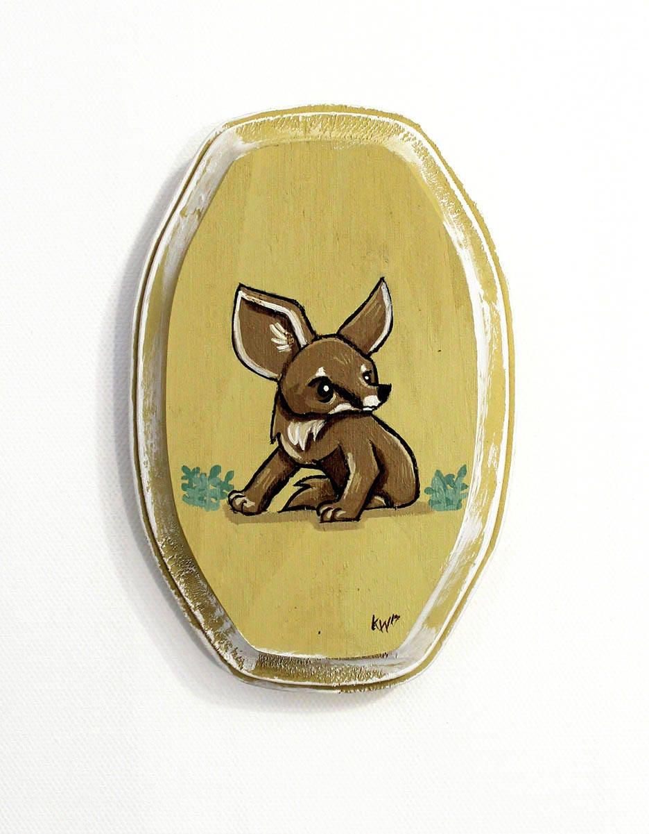 Kit Fox Art Small Original Wall Art Acrylic Painting on Wood