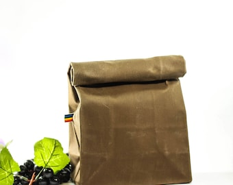 Waxed Canvas Lunch Bag - Bag For Men and Women -  Zero Waste - Reusable Waxed Lunch Bag - Tan - Brown - Eco Friendly - Gift for Him