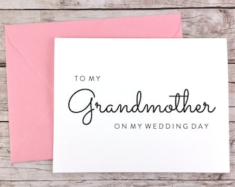 To My Grandmother On My Wedding Day Card, Grandma Card, Wedding Card, Grandmother Card, Grandmother Gift  - (FPS0016)