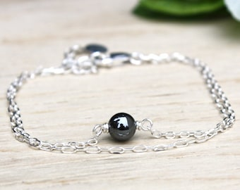 double hematite chain bracelet round Pearl 925 sterling silver