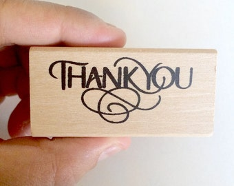 thank you rubber stamp - stationey stamp - wedding thank you stamp - wooden stamp - cardmaking stamp - scrapbooking stamp - packaging stamp