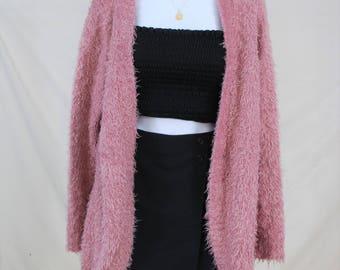 90s Fuzzy Pink Cardigan | VTG 90s - Y2K Thrown On Cardigan