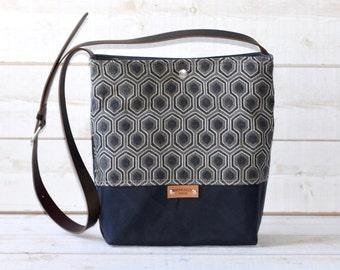 Waxed canvas bag ,cross body bag, waxed canvas day bag, leather strap shoulder bag,gray geometric,metal closure