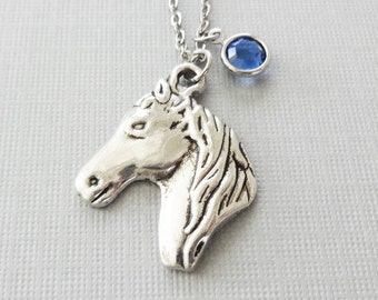 Horse Necklace, Colt Necklace, Horse Races, Equestrian, Jockey Gift, Birthday Gift, Silver Jewelry, Swarovski Channel Birthstone Crystal