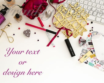 Purple & Gold Beauty and Fashion Styled Stock Photo / Stock Photography / Flatlay / Desktop Mockup / Desk Styled / Frankly Photos File #40