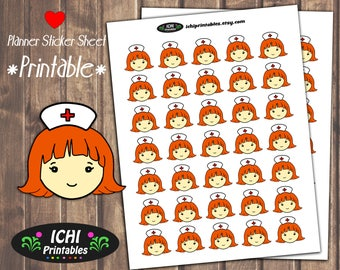 Redhead Nurse Printable Planner Stickers, Nurse Stickers, Nurse, Ginger, Medicine, Doctor Appointment, Hospital Nurse Stickers, Functional