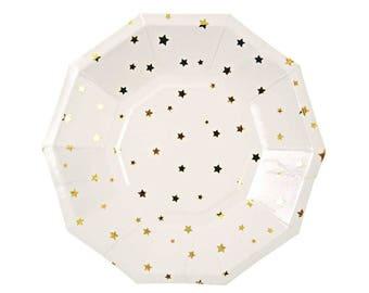 Gold Star Paper Plates Meri Meri Gold Party Plates Twinkle Little Star Baby Shower  sc 1 st  Etsy & Star Shaped Plates 8 Meri Meri Jazzy Star Paper Plates