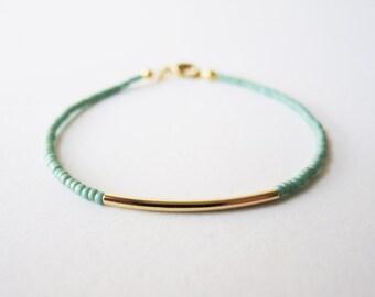 Green gold bar beaded bracelet - friendship bracelet - Gift for her under usd 15
