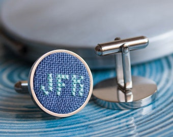 Monogram cufflinks, personalized wedding cufflinks, gift for him - dark blue fabric - i023