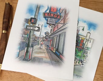 Memphis TN Beale St. Note Cards // Beale Street Stationery // Blank Thank You Notes // Memphis Tennessee Note Card Set
