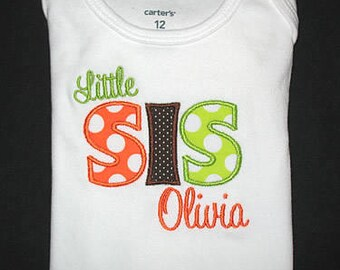 Custom Personalized Applique Big, Middle, or Little SISTER and NAME Bodysuit or Shirt - Tangerine Orange and Lime Ta Dots with Brown