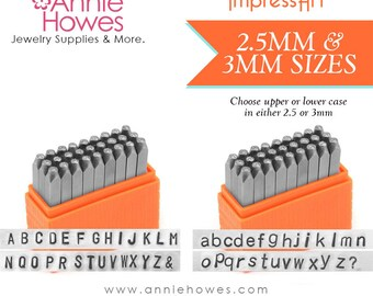Metal Stamp Alphabet Set. Your Choice of Uppercase or Lowercase set. Impressart Basic San Serif Alphabet Stamp Set - 2.5 or 3mm sizes