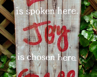 """Wood Sign, Distressed, Rustic Reclaimed Wood Sign, """"Love, Joy, Grace"""" Large"""
