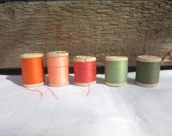 Set of 5 colorful thread,Soviet thread with Wooden Spools, cotton crochet Yarn,Retro Crochet material,Soviet Thread,soviet Wooden Spool