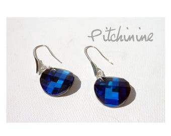 "Sterling Silver, and original blue CAPRI of Swarovski pattern ""metro"""