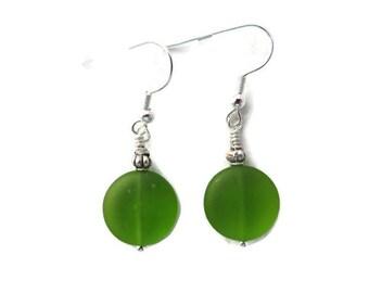 Bright Green Dangle Earrings, Green Sea Glass Earrings, Green Beach Glass Earrings, Lime Green Earrings, Green Drop Earrings, Spring Green