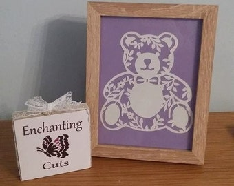 Teddy Bear Papercut, Teddy picture, Bear picture, teddy art, teddy, papercutting, nursery art, new born, new baby, framed paperart