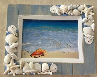 Seashell Photo Ftame - Beach Decor Frame - Nautical Decor Frame - Beach Cottage Decor 5 x 7