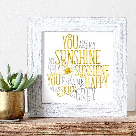 You Are My Sunshine Watercolor Print Kids Wall Art