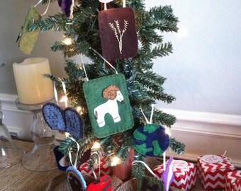 Jesse Tree ornaments. Advent felt CHRISTMAS ornaments..Advent calendar. heirloom quality. Hand embroidered. Christmas. Kids Bible story