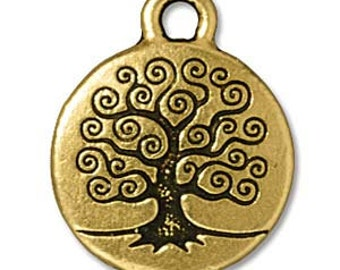 2 TierraCast Antique Gold Tree of Life Charms 15.5 x 19.5mm