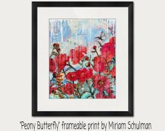 Floral PRINT | peony art | mixed media | collage art | butterfly art | light blue | dark pink red | flower art | rose art | rose paintings