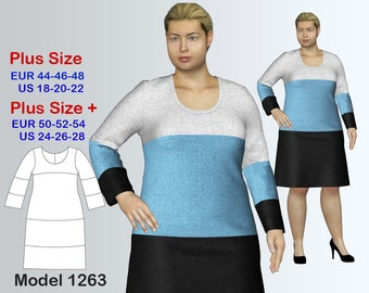 Plus size Dress Sewing Pattern PDF, Women's sizes 18-28, PDF Instant Download Sewing Pattern, Geometric Dress Sewing Pattern