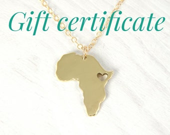 GIFT CERTIFICATE 18kt Gold  Plated Africa Necklace Golden Nugold Heart Africa Ethiopia Pendant