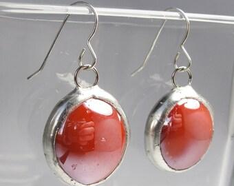 Red Apple Drops - Sterling Silver Glass Earrings
