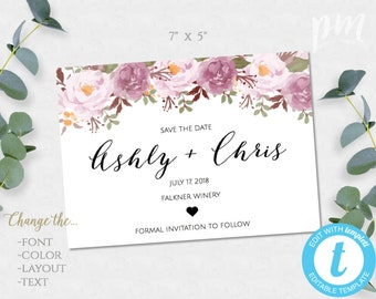 Save The Date, Wedding Announcement, Save-The-Date, Save The Date Card, Floral Save The Date, Editable Template, DIY Save The Date Printable
